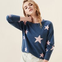 女圆领套衫温暖星星印花舒适山羊绒女式羊绒衫