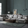 KUKa 顾家家居 2055 现代科技绒布组合沙发 钢灰色 3双+凳