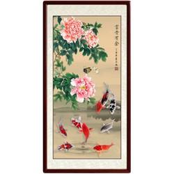 国画手绘工笔画《富贵有余》玄关九鱼图装饰墙画 牡丹鲤鱼挂画