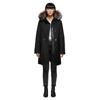 Mackage RENA-DX系列女士长款兔毛可抽绳拉链带帽大衣RENA-DX-BLK-PINK 黑色XXS