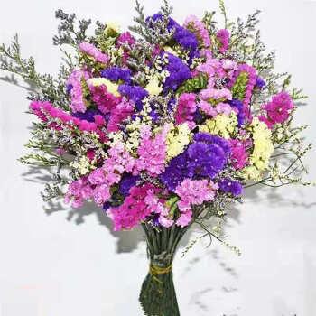 花束勿忘我大束永生花家居装饰 紫玫粉黄+黄水晶+草 20支