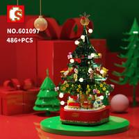 森宝 601097 旋转灯光街景 圣诞树积木