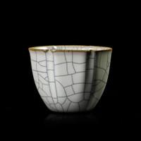 """苏士林手作功夫茶具陶瓷品收藏级茶碗茶盏 """"传世""""哥窑吉祥杯 *3件"""