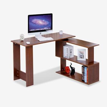 彭友家私 简约转角电脑桌台式电脑桌家用旋转书桌书架组合办公桌 柚木色 PY-DK99 *3件