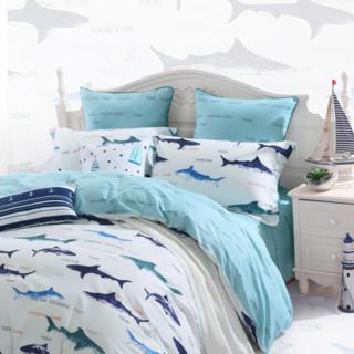 MERCURY 水星家纺 全棉印花四件套 蓝色海洋 1.8m床