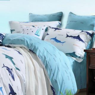 MERCURY 水星家纺 全棉印花三件套 蓝色海洋 1.2m床