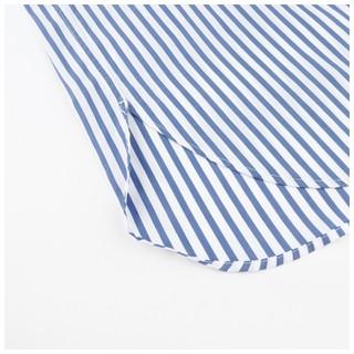 UNIQLO 优衣库 男士条纹不规则开叉长袖衬衫431477 海蓝色M