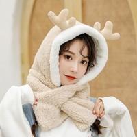 蓓妮 BN6505 毛绒围巾连帽一体 鹿角款式