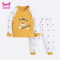 Miiow 猫人 儿童加厚夹棉保暖内衣套装 *2件