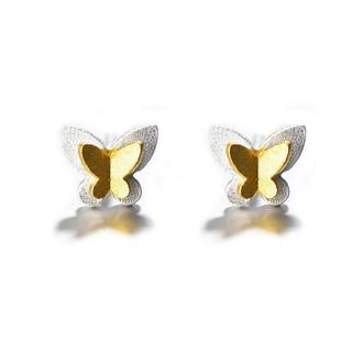alivinee 阿莉维妮 s925银金色小蝴蝶耳钉(配银耳塞)