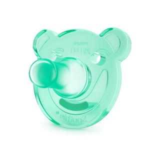 飞利浦新安怡(AVENT)安抚奶嘴婴儿宝宝新生儿全硅橡胶美国进口0-3月仿母乳单个装绿色SCF194/06 *5件
