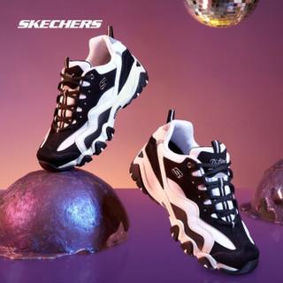 斯凯奇Skechers情侣鞋男鞋复古厚底熊猫鞋休闲运动鞋666049 (男款)黑色/白色BKW 41.0