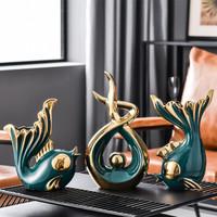 京东PLUS会员:Hoatai Ceramic 华达泰 现代简约艺术摆件(亲嘴鱼+招财进宝)