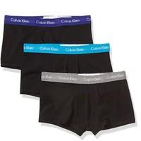 Calvin Klein 卡尔文·克莱 男士纯棉弹力低腰平角内裤套装NU2664 3条装(Open Ocean+Middle Ground Heather+Blue Topaz)XL