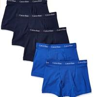 Calvin Klein 卡尔文·克莱 男士纯棉弹力低腰平角内裤套装NU2664 5条装(Blue Shadow*3+Cobalt*2)L
