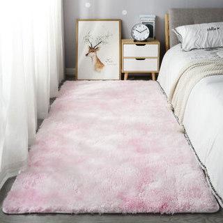 欧缔兰 北欧风客厅地毯 扎染粉紫色长毛款   80*160cm