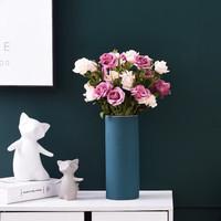 华达泰陶瓷 莫兰迪色圆柱陶瓷花瓶小号+花束