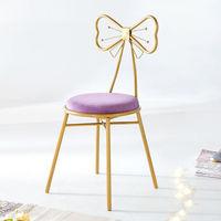 0719北欧轻奢化妆椅 四腿款紫绒