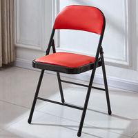 0719 靠背折叠椅 黑腿+红面