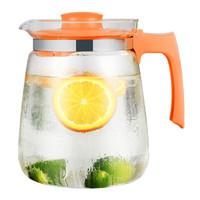 紫丁香 冷水壶 大容量耐热玻璃杯 花茶果汁杯热饮家用玻璃凉水壶 2000ml鲜爽橙 *3件