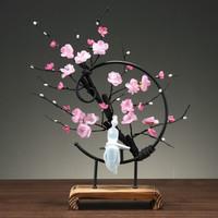 华达泰 新中式禅意摆件 铁艺粉梅