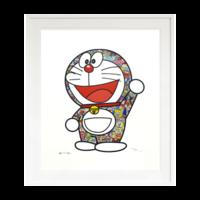 村上隆多啦A梦版画 限量双签名 手工装裱艺术品正版日本直邮