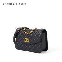 CHARLES&KEITH2020秋季新品CK2-70701062-1女链条单肩包菱格包 Black黑色 S