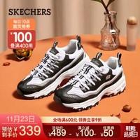 Skechers斯凯奇女鞋 闪亮点缀熊猫鞋运动休闲鞋 厚底老爹鞋11923/11914 黑色/白色