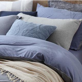 MERCURY 水星家纺 简秋律全棉针织素色三件套 1.2米床