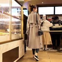 waitmore风衣女中长款韩版宽松2020年春装新款小个子流行秋季外套
