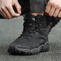 狼石户外正品新式作战靴男超轻黑色中帮战术军靴冬季作训军鞋耐磨