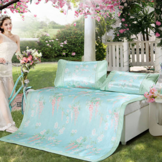 MERCURY 水星家纺 威尼斯花园薄荷芳香冰丝席三件套1.5m床