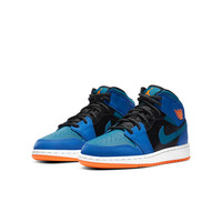 AIR JORDAN 正代系列 Air Jordan 1 Mid (GS) 大童篮球鞋 554725-440 赛车蓝/深渊绿/黑/荷兰橙 38