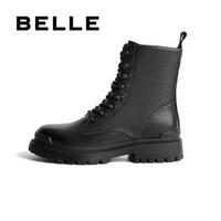 BELLE/百丽2020冬新款8孔英伦风厚底牛皮革女马丁靴73661DD0 黑色 37
