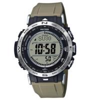 CASIO 卡西欧 液晶系列 PRW-30-5PR 45.62mm 男士电波手表 灰盘 米色树脂带 圆形