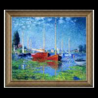 莫奈名人油画《成双的红帆船》背景墙装饰画挂画 75×66cm