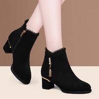 高跟鞋粗跟加绒百搭女鞋