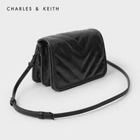 CHARLES&KEITH2020冬季新品CK2-80150978女士简约翻盖单肩小方包 Black黑色 S