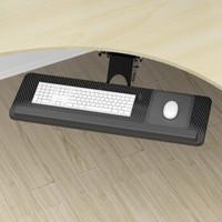 壹巢 键盘托架可升降键盘托盘笔记本电脑桌键盘支架子办公室键盘拖人体工学键盘抽屉旋转收纳鼠标手托板 密度板碳纤维贴面(横梁款) 75*24CM托板