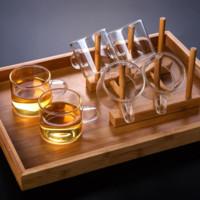 天喜玻璃小茶杯家用功夫茶具套装透明水杯主人杯单杯女带把品茗杯