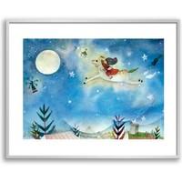 吉儿《深夜的木马》艺术版画 装饰画 背景墙挂画 画框尺寸50*40cm