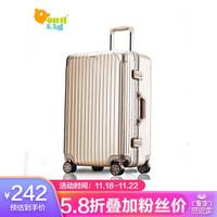 PointKid 铝框拉杆箱运动版男女万向轮旅行箱加厚款大容量行李箱密码箱包20英寸  1701香槟金