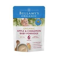 BELLAMY'S 贝拉米 有机婴幼儿辅食 苹果肉桂味高铁米粉米糊125g 2袋装 *4件
