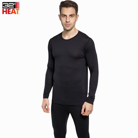 美国32度Heat保暖内衣套装超薄发热超薄男士恒温白色黑色秋衣秋裤