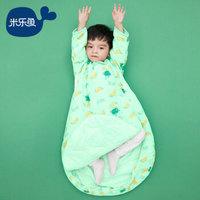 米乐鱼 婴儿睡袋儿童宝宝抱被加厚防踢被一体可拆袖 夹棉南瓜派对100*55cm