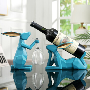Hoatai Ceramic 华达泰 现代简约兔子红酒架套装(湖蓝色) *2件