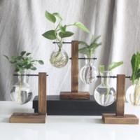 納拾逅 創意木架水培花瓶綠蘿植物插花容器單個瓶+高低瓶