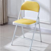 0719 靠背折叠椅  白腿+黄面