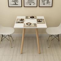 素宅 餐桌 北欧四人棋牌麻将桌家用实木腿桌子 80*80*75正方形白色SZ8167Z