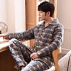 传美 冬季男士睡衣长袖纯棉加厚保暖夹棉睡衣格子棉袄家居服全棉套装 3010 175【XL】:建议体重130斤-160斤